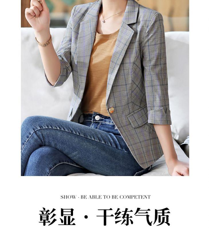 女夏中袖格子小西装外套女2019春夏新款休闲五分袖西服上衣