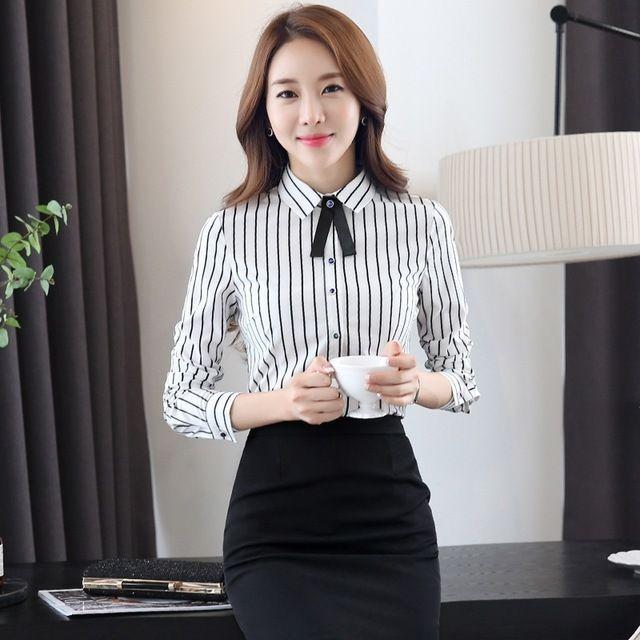 韩版修身衬衣女休闲竖条纹大码办公室东莞工作服衬衫