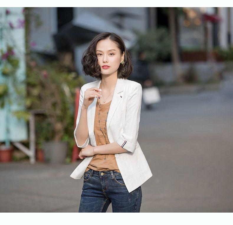 韩版夏季休闲修身棉麻七分袖黑色西装外套亚麻东莞工作服工衣厂服职业装