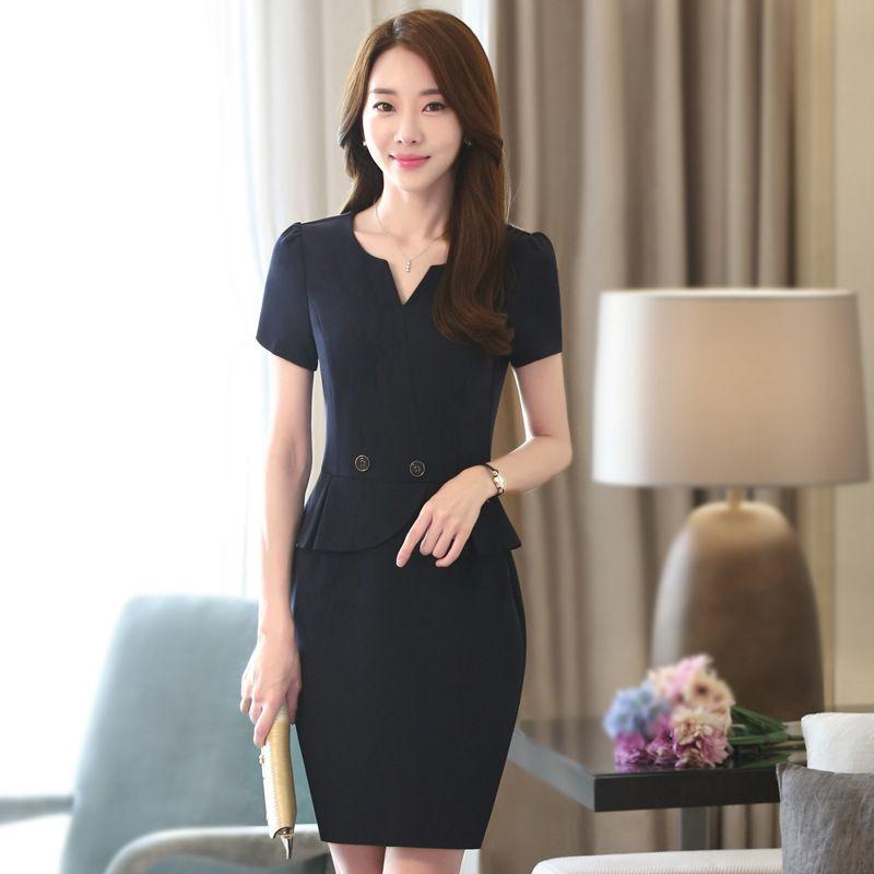 裙装夏短袖西装裙修身包臀裙一步裙假两件招代理