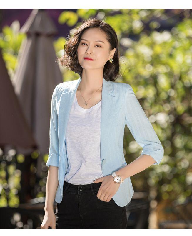 外套女韩版小香风短款春夏气质休闲显瘦职业小西服潮东莞工作服工衣