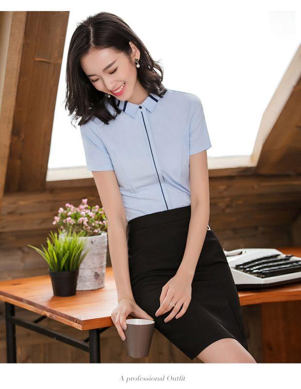衬衫女 设计感小众 职业装衬衣 短袖东莞工作服正装ol名媛上衣英伦风夏季