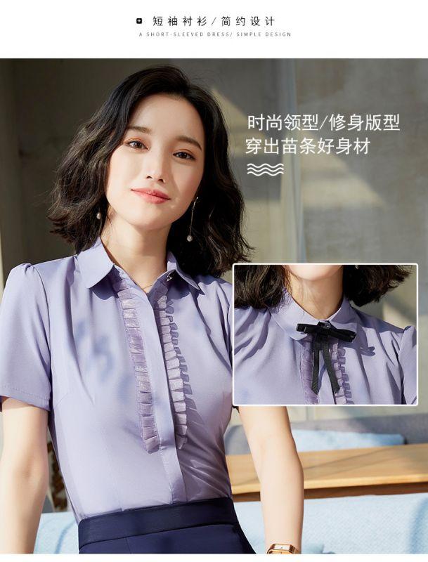 职业装 女装正装 衬衫短袖 女套装2019夏季新款韩版小领结白衬衣东莞工服