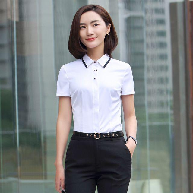 春夏新款 韩版职业套装 女装套裙白色短袖衬衫女时尚东莞工作服正装套裙