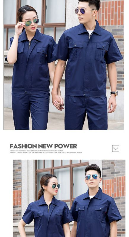 纯棉工程服 夏季短袖套装 装修公司东莞工作服 水电安装电工木工劳保服
