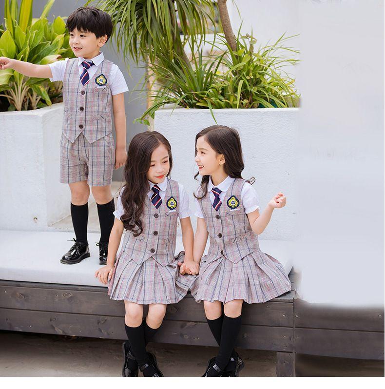 夏季幼儿园园服夏装新款 小学生校服英伦风三件套 男女儿童班服套装