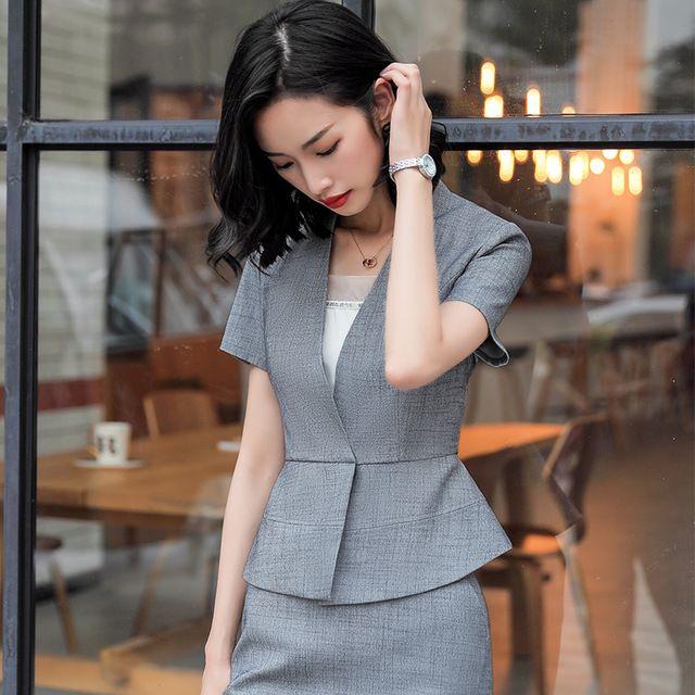 新款时尚修身小香风西装套装女春夏正装OL西服工作服