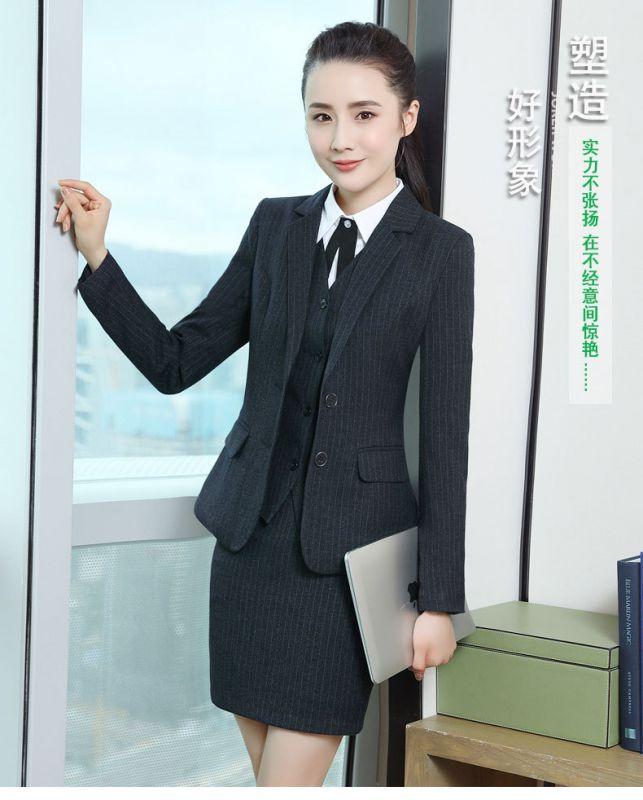 2019春秋新款时尚气质商务工装女OL条纹工作服