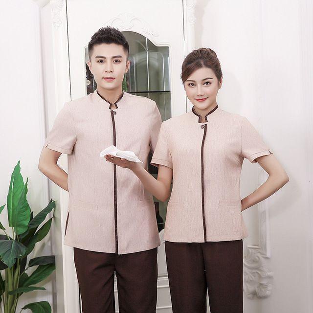 新款亚麻保洁服 短袖宾馆客房物业保洁员大码男女新款