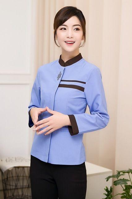 秋冬装女保洁服长袖 宾馆客房服务员物业清洁PA制服