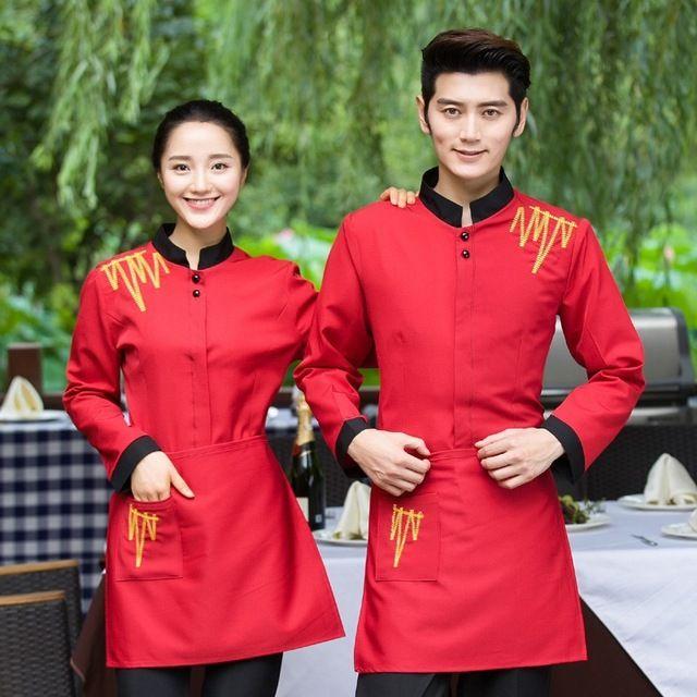 秋冬装女饭店服务员长袖工装火锅店中式餐厅工作服长袖