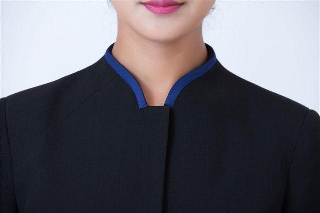 中式餐厅饭店农家乐服务员工作服秋冬装男