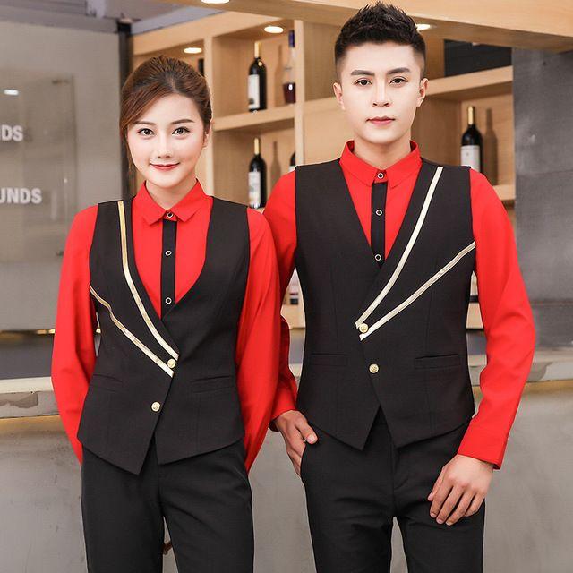 西餐厅工作衬衣餐厅服务员饭店工作服马甲