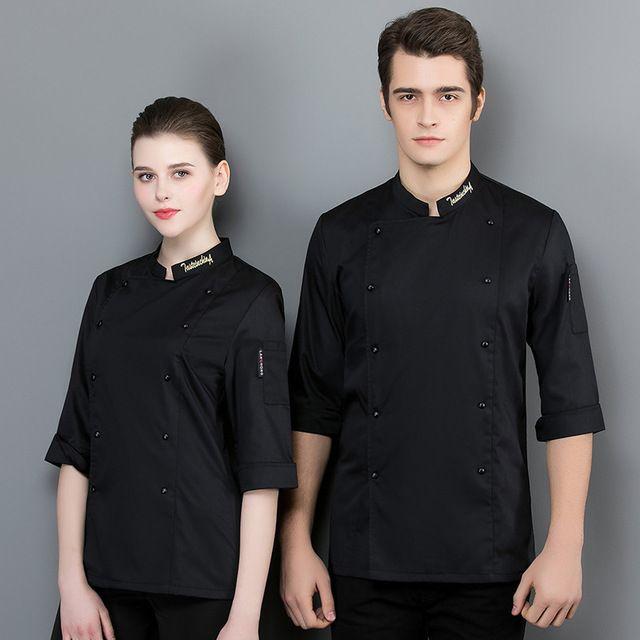 厨师工作服白色女餐厅厨房工作服 七分袖男短袖透气上衣夏季