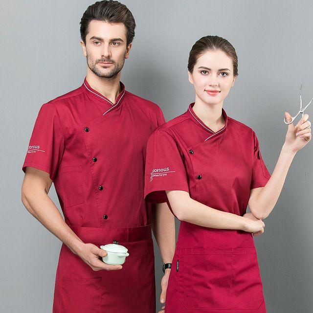 厨师工作服男女短袖夏装 酒店餐厅食堂后厨厨师服