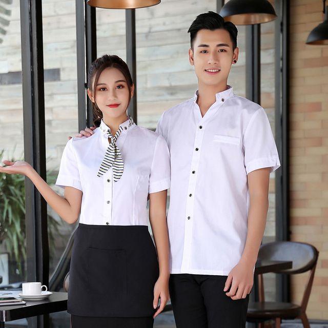 火锅店服务员工作服 半袖网咖啡厅蛋糕店服务员工作服短袖