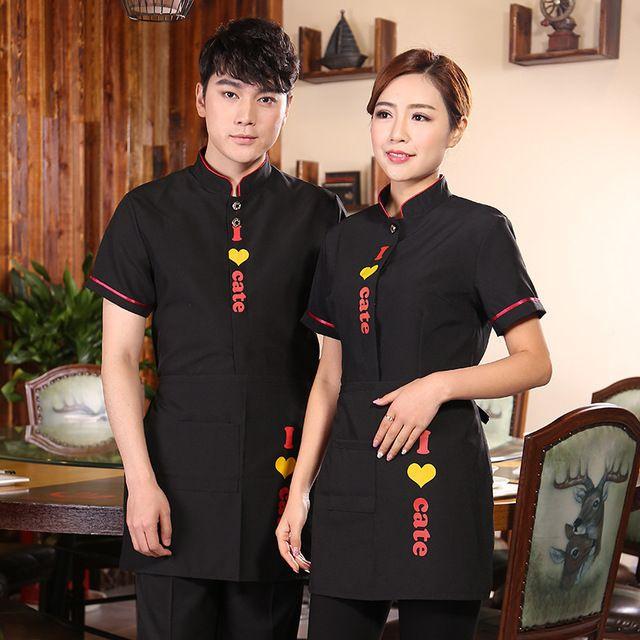 新款酒店餐厅服务员工装男女款短袖服务员工作服