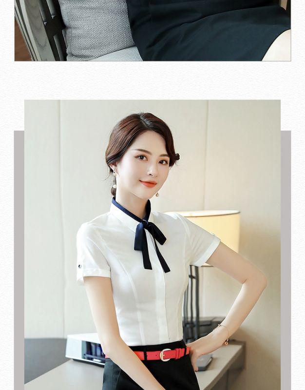 夏季新款女装 白色小领职业 短袖衬衫衬衣 正装工装寸衫工作服